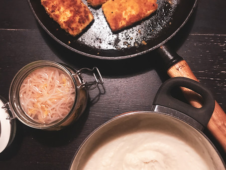 Panerad tofu med blomkålsmos
