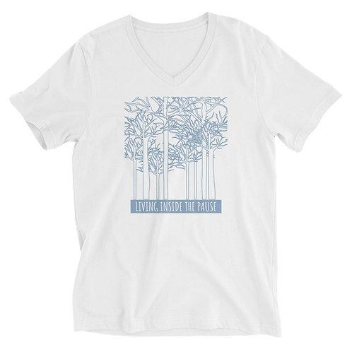 Men's or Women's Short Sleeve V-Neck T-Shirt - Living Inside the Pause (Forest)