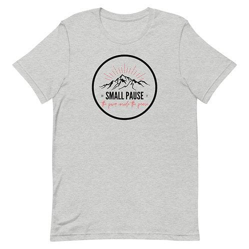Men's or Women's Short-Sleeve T-Shirt - Retro Small Pause Logo (Mountains)
