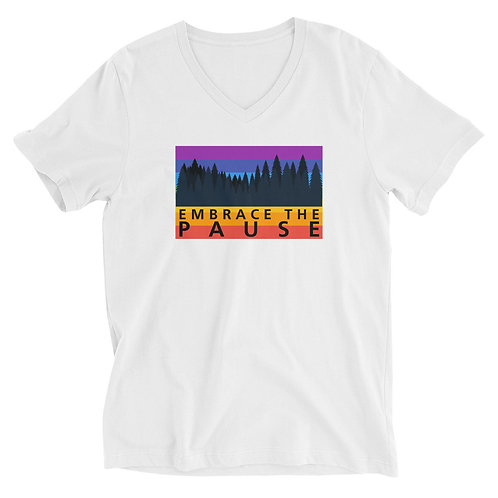 Men's or Women's Short Sleeve V-Neck T-Shirt - Embrace The Pause (Rainbow)