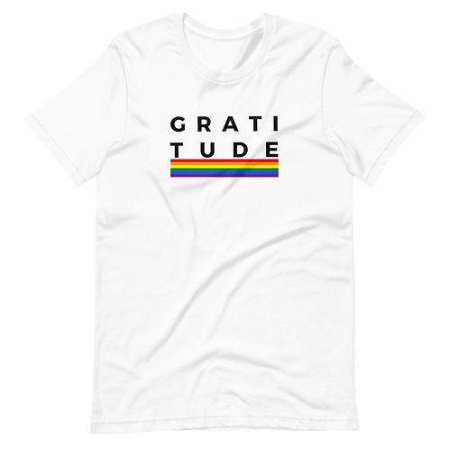 Men's or Women's Short Sleeve Crew Neck T-Shirt - Gratitude (Rainbow)