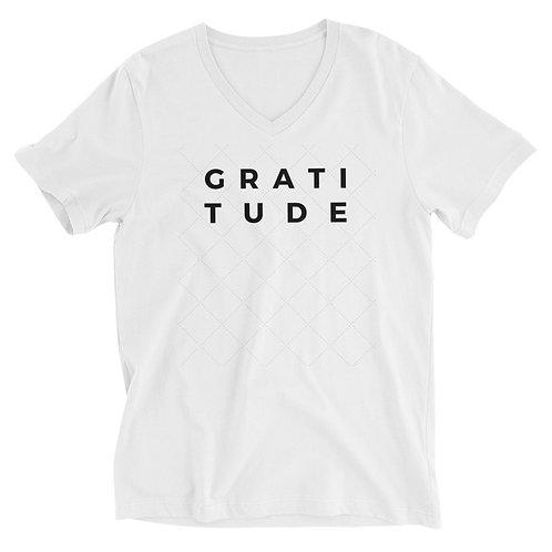 Men's or Women's Short Sleeve V-Neck T-Shirt - Gratitude