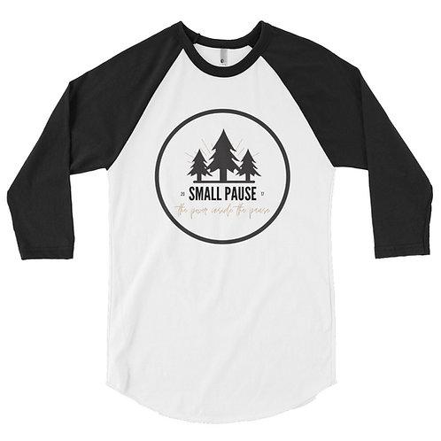 3/4 Sleeve Baseball Shirt - Retro Small Pause Logo - Power Inside The Pause