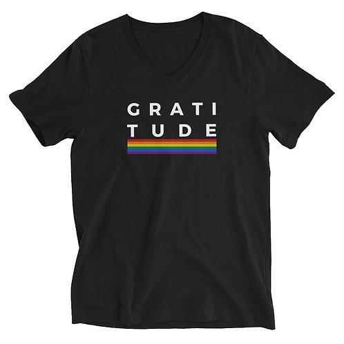 Men's or Women's Short Sleeve V-Neck T-Shirt - Gratitude (Rainbow)