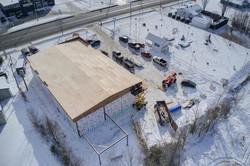 vue de haut: construction d'un immeuble commercial