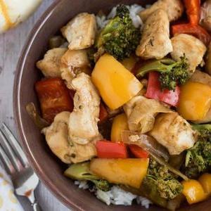 Sheet Pan Chicken Vegetable Stir Fry