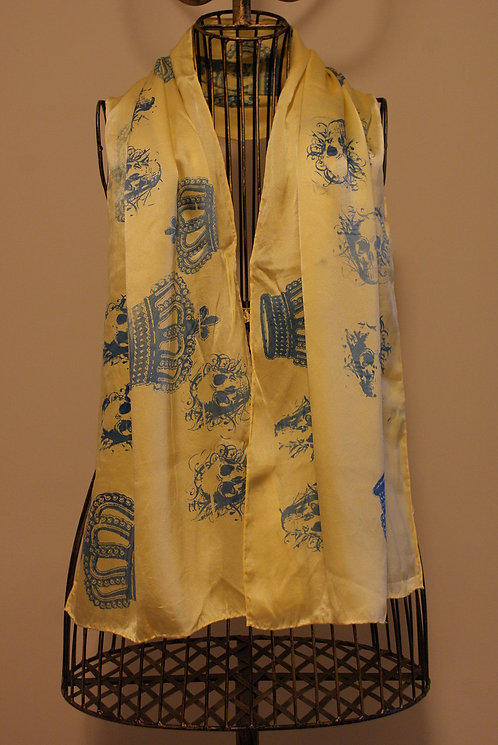 Crown and Skull Yellow Scarf