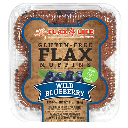 Flax4Life Wild Blueberry Flax Muffins 4 ct