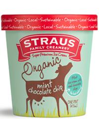 Straus Family Creamery Super Premium Mint Chocolate Chip Ice Cream 1 pt
