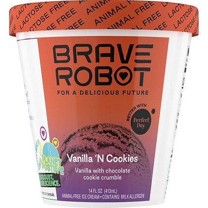 Brave Robot Ice Cream, Animal-Free, Vanilla 'N Cookies 14 oz