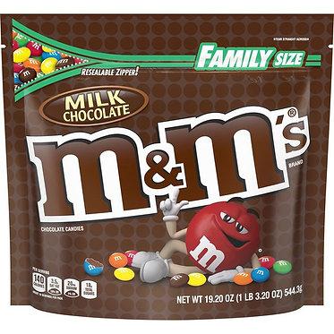 M&M's Milk Chocolate Candy Family Size 19.2 oz