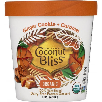 Coconut Bliss Frozen Dessert, Dairy-Free, Organic, Ginger Cookie + Caramel 1 pt