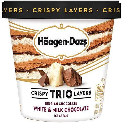 HAAGEN-DAZS Trio White, Milk Chocolate Ice Cream 14 fl oz
