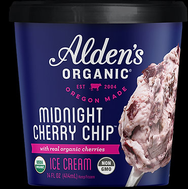 ALDEN'S ORGANIC ICE CREAM MIDNIGHT CHERRY CHIP 14oz