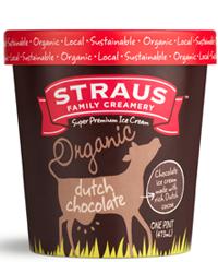 Straus Family Creamery Ice Cream, Super Premium, Dutch Chocolate 1 pt