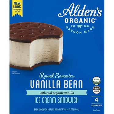 Alden's Ice Cream Organic Vanilla Bean Ice Cream Sandwich 4 x 3 fl oz