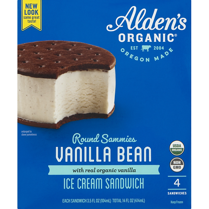 Alden's Ice Cream Organic Vanilla Bean Ice Cream Sandwich 4 x 3 fl oz