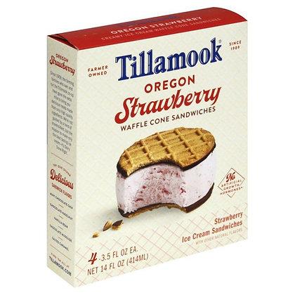 Tillamook Ice Cream Waffle Cone Sandwiches, Creamy, Oregon Strawberry 4 each