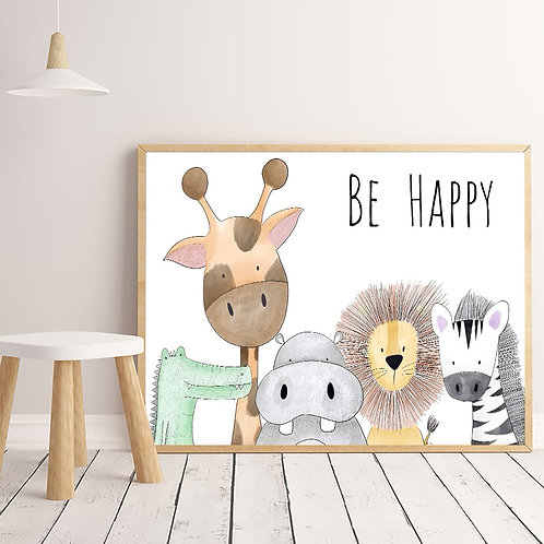 Animals Print - Be Happy