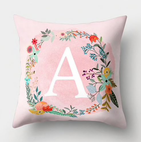 Letter- Flower Wreath Pillow