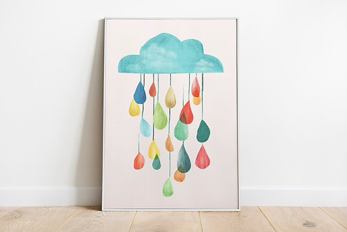Cloud With Colorful Drops Print