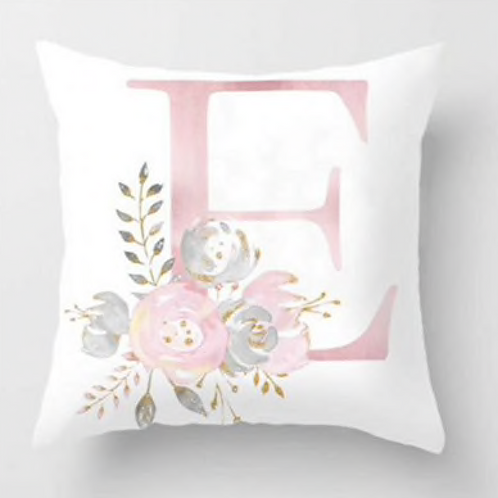 Pink Letter+Flowers Pillow