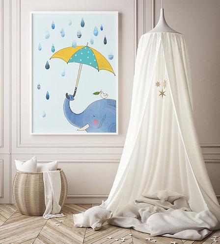 Elephant With Umbrella Print