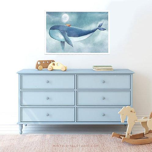 Girl On A Whale Print