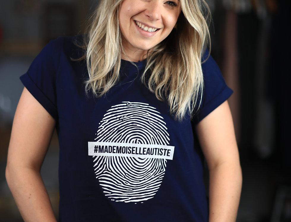 "T-shirt Marine  ""Empreinte Mademoiselle Autiste"""