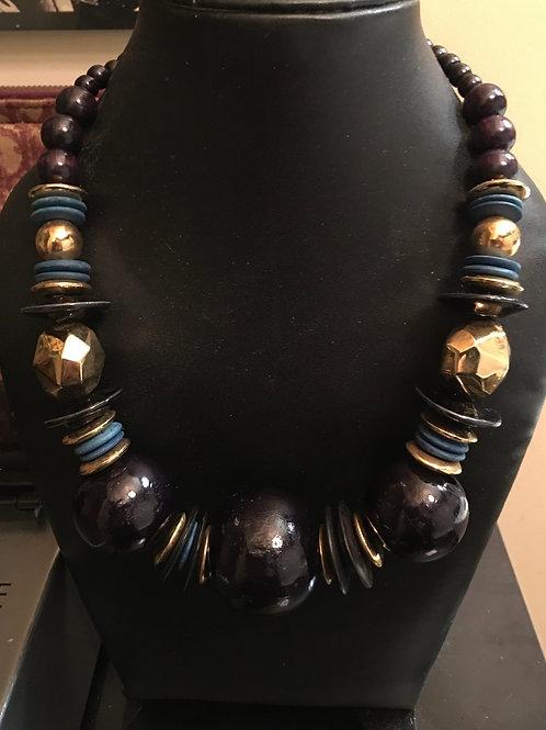 Collier perles noires / dorées 1980