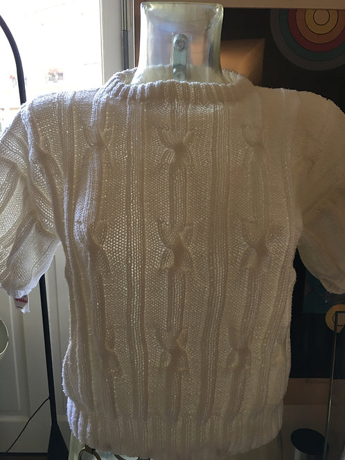 Pull manches courtes blanc 1970
