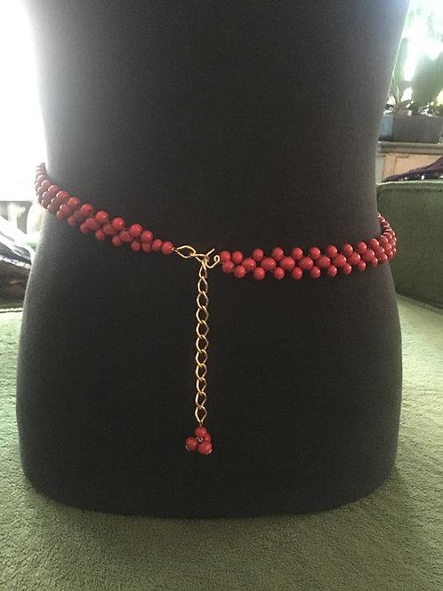 Ceinture 1960 perles rouges