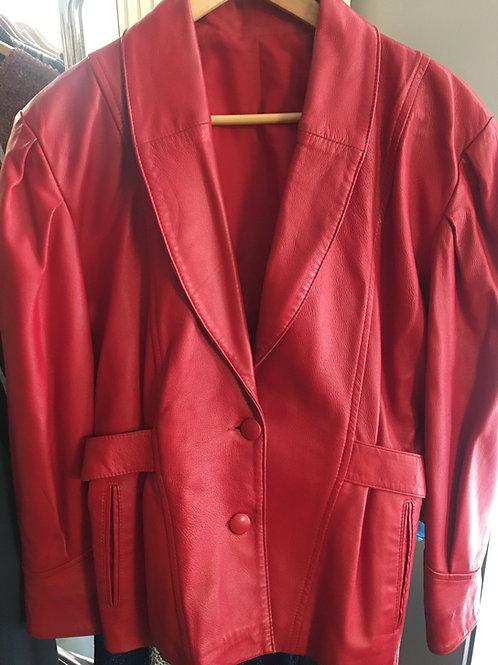 Joli manteau rouge en cuir 1980