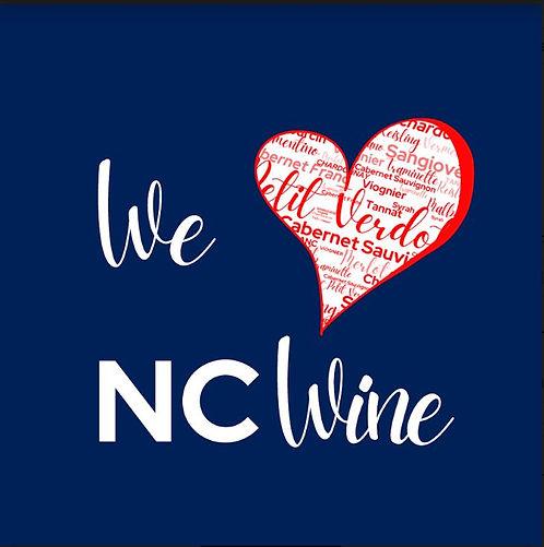 We Love NC Wine (red heart blue backgrou