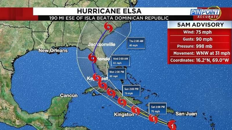 Screenshot of Hurricane Elsa tracking north across Cuba to the west coast of Florida