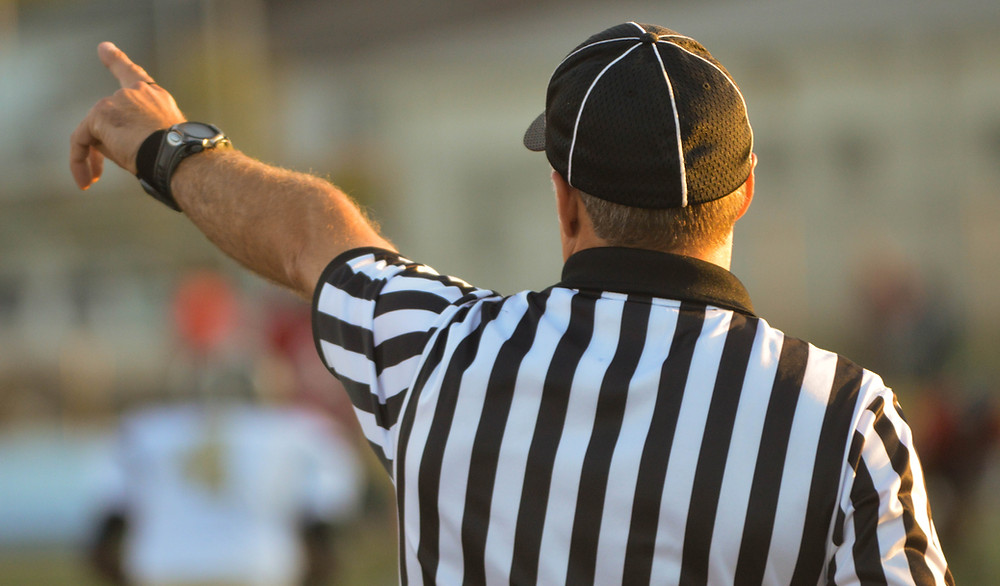 Referee facing away from the camera and pointing at a crowd