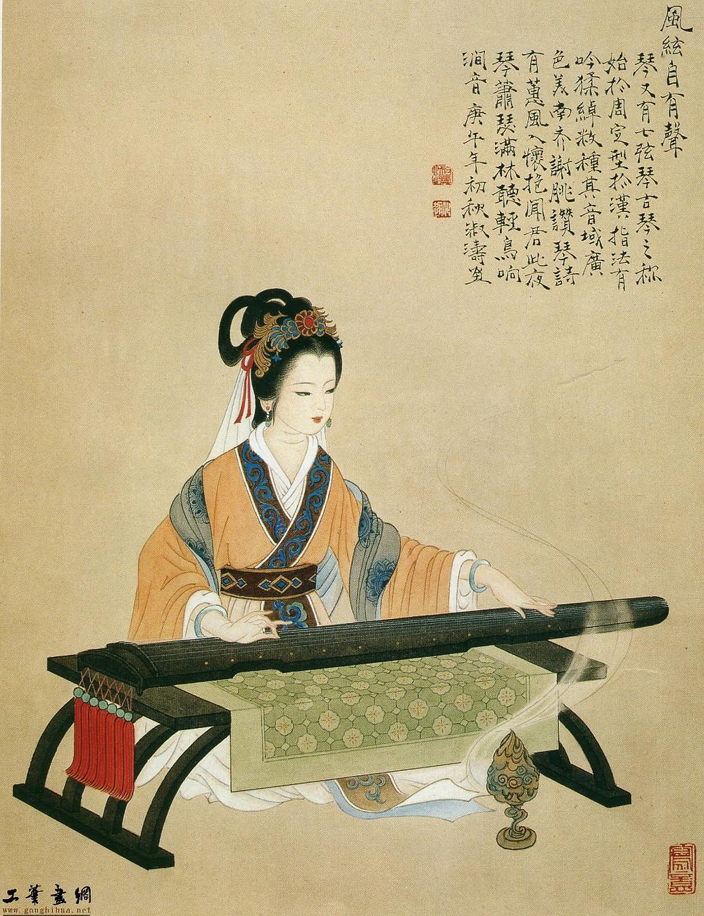 китай, певчика играет на цине (Центр Китайской Культуры: китайский язык в Санкт-Петербурге)