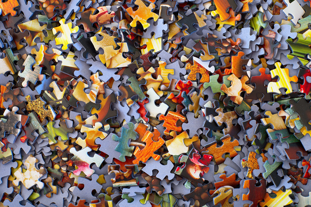 Stack of jigsaw puzzle pieces