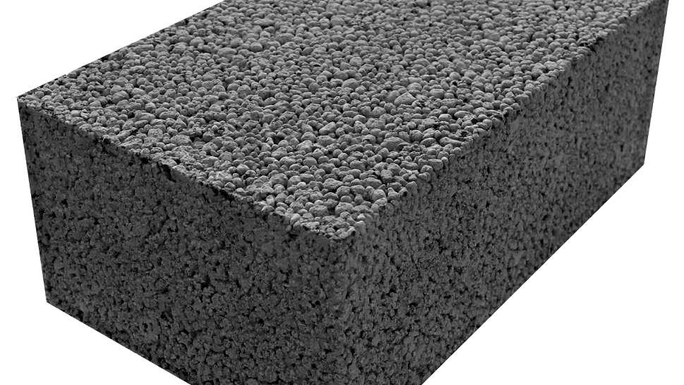 Полнотелый керамзитобетонный стеновой блок КСР-ПР