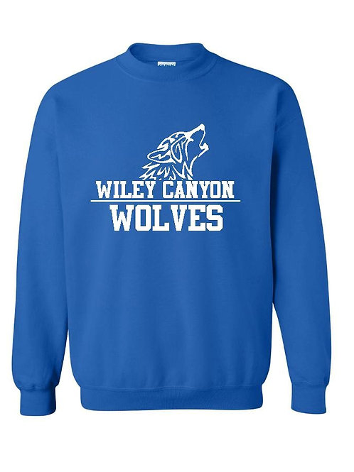Wiley Canyon Wolves Royal Crew Sweatshirt with Wolf