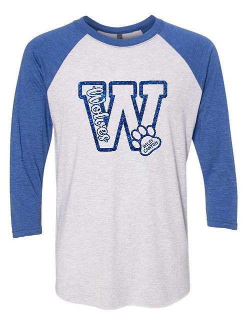 Wiley Raglan Big W Two Tone Unisex Shirt with Blue Glitter