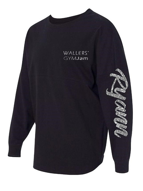 Wallers' Women's Black Personalized Long Sleeve Game Day Shirt w/Glitter