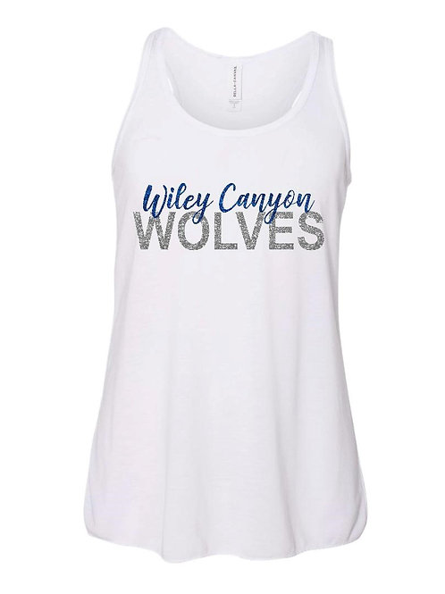 Wiley Canyon Wolves Flowy Tank with Glitter Lettering