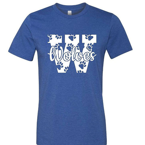 Wiley Wolves Big W with Paw Prints Unisex Shirt