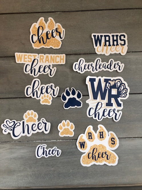 WRHS Cheer Stickers for Hydro Flask or Laptop, etc.