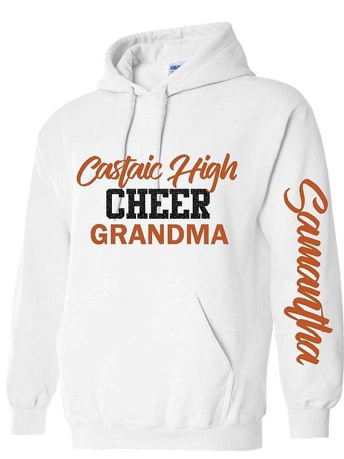 Castaic Cheer Grandma Personalized White Hoodie