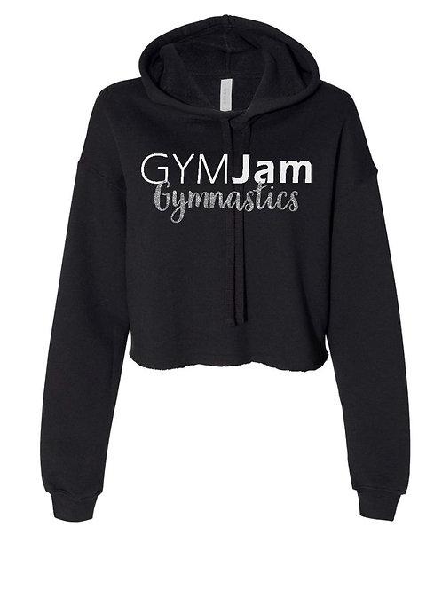 Women's Cropped Sweatshirt Hoodie with Glitter