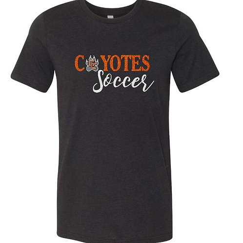 Coyotes Soccer with small crest black T-Shirt