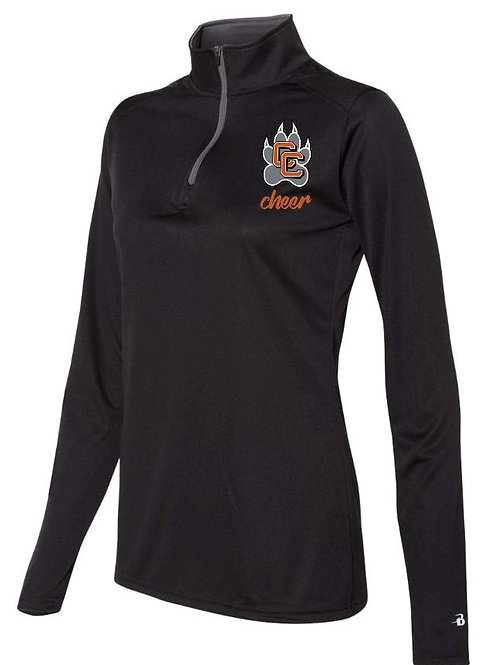 Castaic Cheer Black Quarter Zip Pullover Long Sleeve with Paw