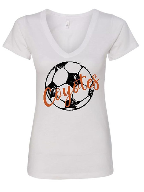 Coyotes Soccer V-Neck with distressed ball